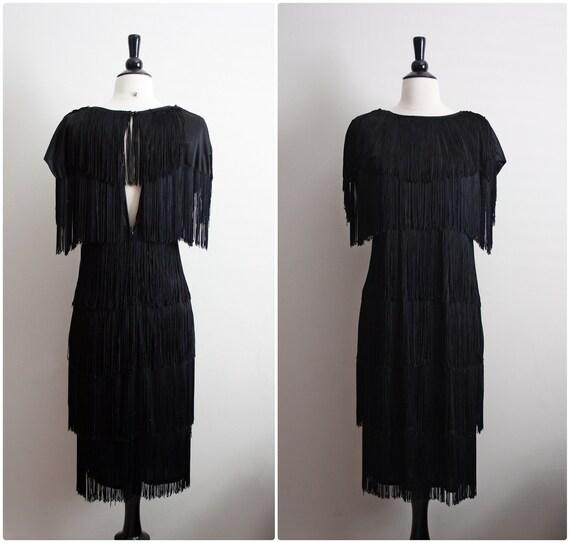 Vintage Mad Men Black Fringe Flapper Dress. Size S/M