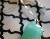 Minty Pale Teal Rectangle with Green Modern Glass Pendant