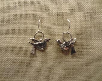 Artisan Sterling Silver Bird Earrings