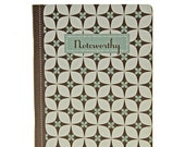 """Graphic Pocket Notebook, Captioned """"Noteworthy"""", Brown, Blue Gray, White, Blank Pages"""