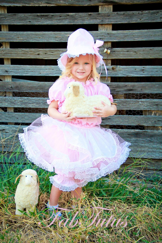 Little Bo Peep Costume tutu lacy pants apron top hat