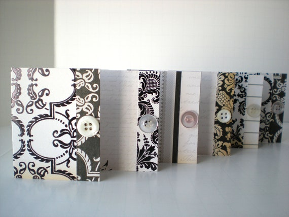 Set of 6 Gift Tags Mini Cards Handmade Vintage Inspired Cottage Chic Ivory Black