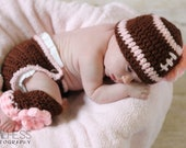 Newborn Baby Girl PINK n BROWN Crochet FOOTBALL Beanie Hat With Daisy, Diaper Cover n Leg Warmers Set -- Cute Photo Prop