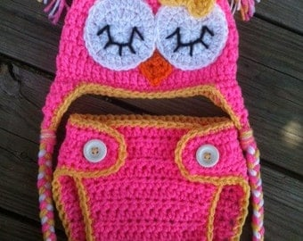 Newborn Baby Girl Sleepy Crochet OWL Bubblegum PINK n YELLOW Diaper Cover -n- Beanie Hat Set -- Cute Photo Prop