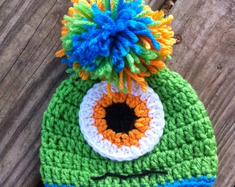 MONSTER Crochet Baby Toddler Boy Girl Beanie Hat with POM POM -- Sizes: Newborn to 5T - You Pick Colors