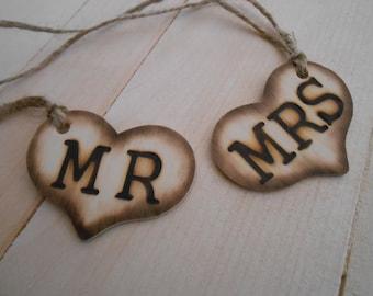Mr and Mrs Heart Charms / Wine Glass Charms / Wedding Decoration / Wooden Heats / Hearts / Mason Jar Heart Charms / Wedding Decoration