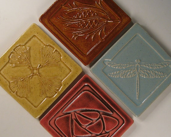 Arts and crafts mission style tile coasters set of 4 for Arts and crafts tiles
