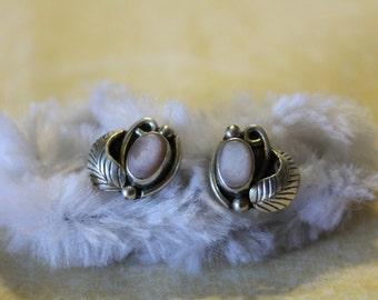 Beautiful Vintage Mother Of Pearl Sterling Silver Earrings