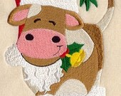 Corbin Cow Plays Santa Claus Embroidered Flour Sack Hand/Dish Towel