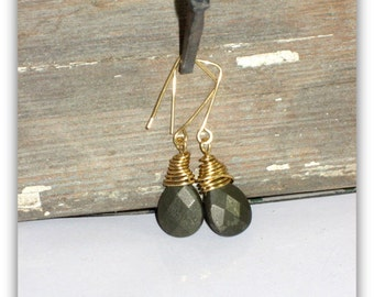 "Faceted Pyrite Gold wire wrapped earrings, 2""L"