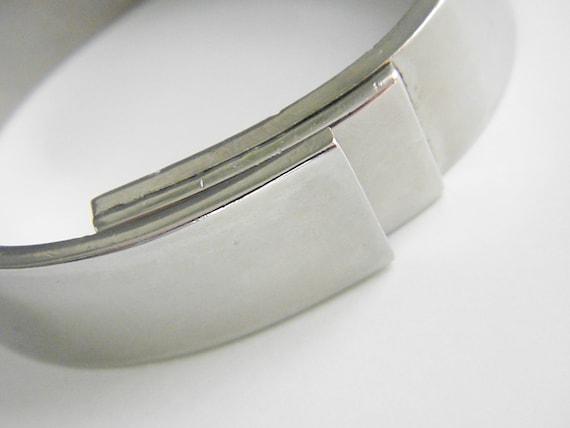 Vintage Modern Art Deco Silver Clamper Bracelet