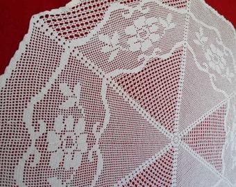"White Crochet  tablecloth  /  crochet doily  / 41 "" / large doily"