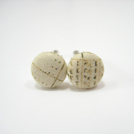 Mens cuff links, beige black, cotton fabric button cuff links, fashion accessories for guys men him, cotton anniversary gift