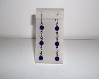 Womens Dark Blue Dangle Earrings