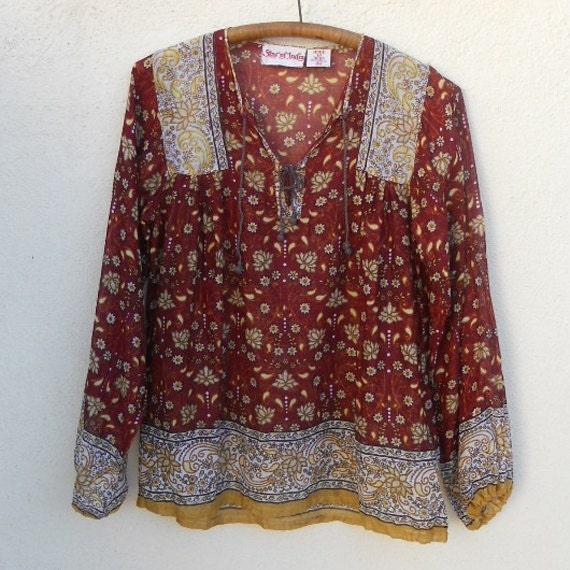 Vintage 70s INDIAN COTTON Floral & Paisley Top