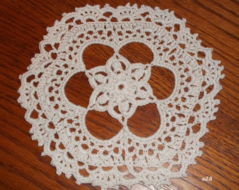 Crocheted Ecru (Beige) Doily (e28)