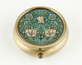 Handmade Pill Box Pill Case Ring Box or Pick Box - William Morris Honeysuckle Floral, Bronze Tone