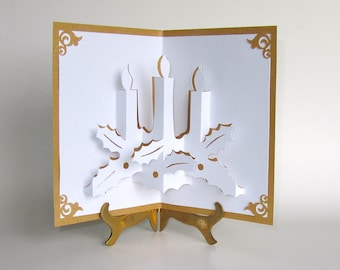 CHRISTMAS CANDLES 3D Pop Up Greeting Card Home Décor Handmade HandCut Origamic Architecture in White on Shimmery Sparkling Gold OOAK