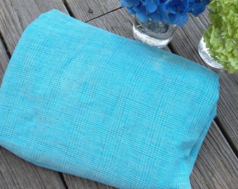 turquoise plaid fabric, light weight, over 4 yards, vintage