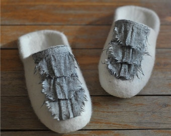 White ecofriendly wool felted slippers  - home shoes - CRAZY