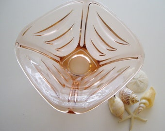 Sale, Vintage Pink Glass Bowl, Czech, Sklo Union, Art Glass Bowl, Hermanova Hut Glassworks, Designed by Vaclav Hanus, Studio Glass
