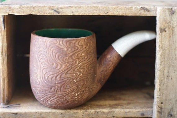vase. good old fashion' kitsch pipe planter smoking mug. jumbo clay cup. crackle finish and hand painted