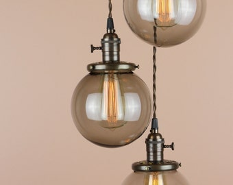 Chandelier Lighting - Pendant Lights Grey Smoke Glass Globes  - Antique Style Wire - Oil Rubbed Bronze Finish - Edison Light Bulbs