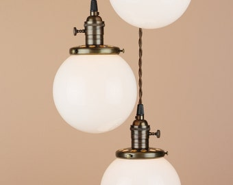 """Chandelier Lighting - Cascading Pendant Lights - 6"""" White Milk Glass Globes - Antique Reproduction Wire - Oil Rubbed Bronze Finish"""