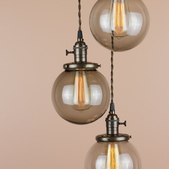 Chandelier Lighting Pendant Lights Grey Smoke Glass Globes