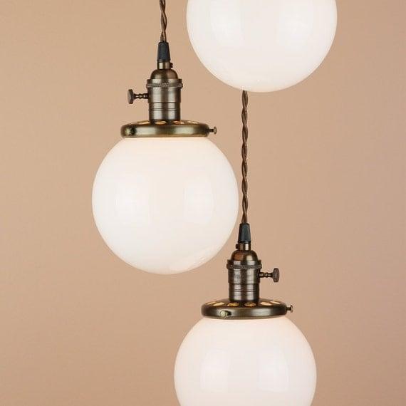 lighting cascading pendant lights 6 white milk glass globes. Black Bedroom Furniture Sets. Home Design Ideas