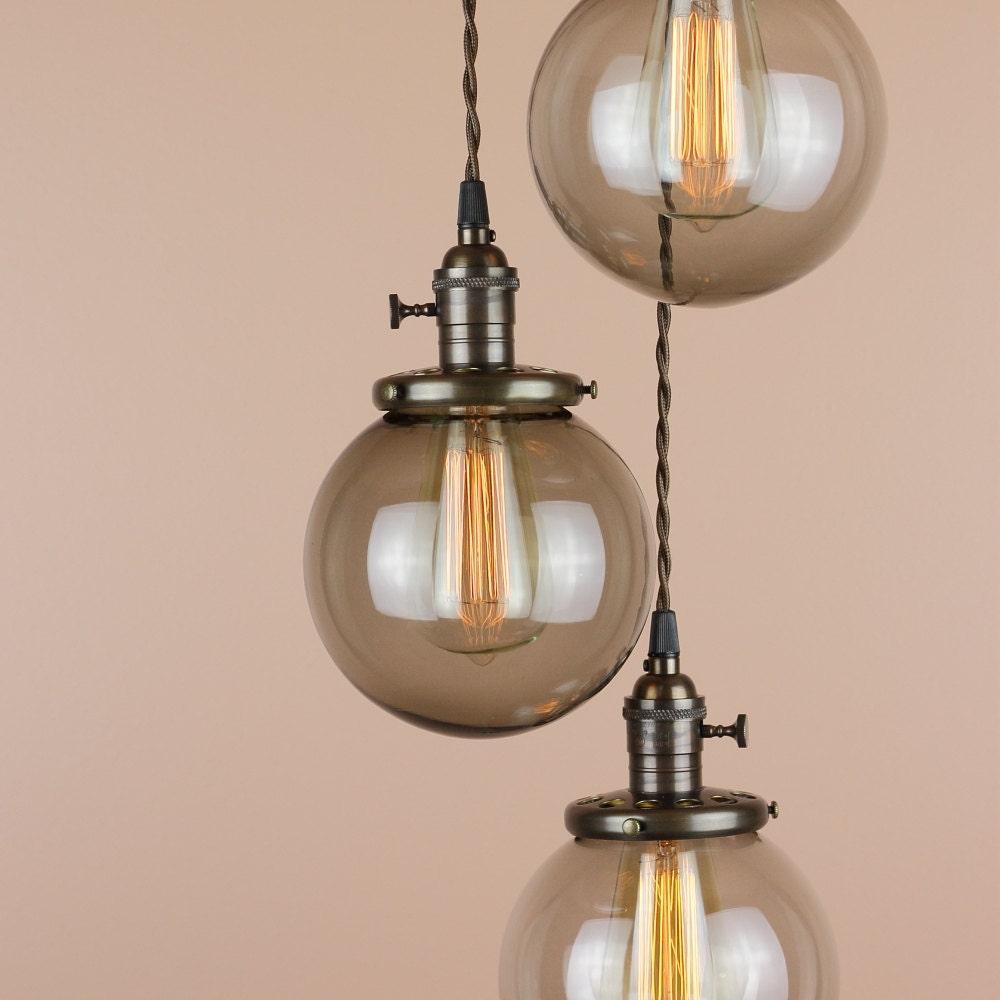 Chandelier Lighting Pendant Lights Grey Smoke Glass Globes