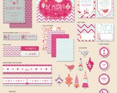 """Instant Download - Be Merry Holiday Party - """"The Hostess"""" PRINTABLE Collection (Pink Blue & Orange)"""