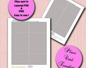 Wedding Party Place Card Template - Layered Photoshop Template - Printable Download Party Table Place Card- no.T5