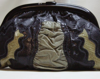 60s70s Snakeskin Clutch with Reghi frame by VASILIS
