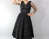 1950s Vintage Dress...Black Taffeta Party Dress with Full Tiered Ruffle Skirt Rhinestone Buttons Size Small