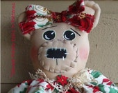 Country Primitive Christmas Bear Cloth Doll