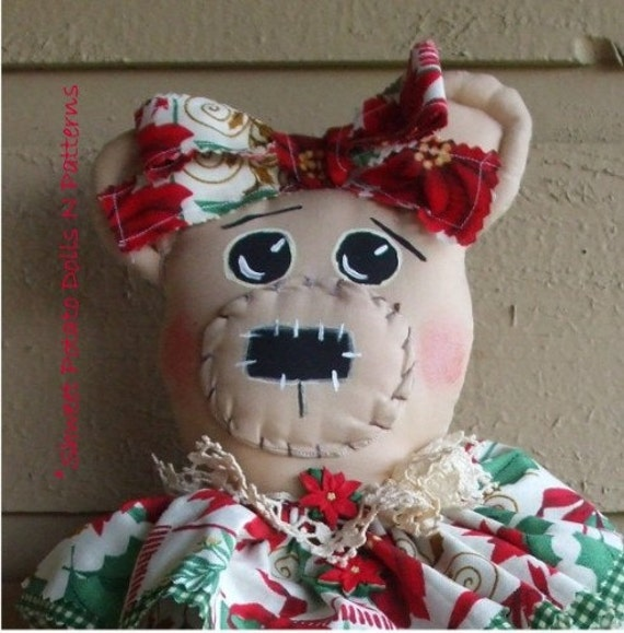Country Primitive Christmas Bear Cloth Doll