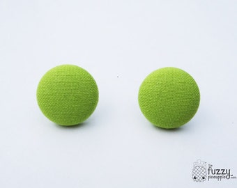 """Solid Lime Green - Fabric Covered Button Earrings Size Medium 3/4"""" by The Fuzzy Pineapple"""