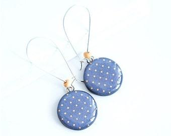 Blue dangle earrings polka dot jewellry handmade blue earrings