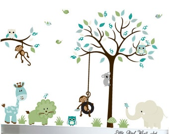 Children's nursery wall art decals jungle walldesign