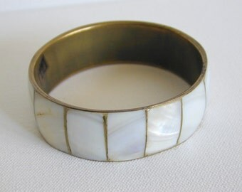 Vintage Brass and Mother of Pearl Bangle - at KonniesPlace