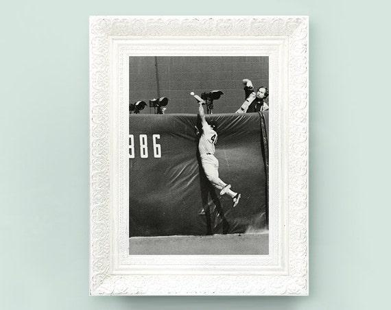 Vintage Baseball Print. Black and White Monochrome Book Plate. Americana Sporting Memoribilia 7x10