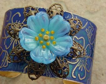 Embellished and Etched Brass Cuff Bracelet, Sapphire Flowers with Lampwork, 1.5""