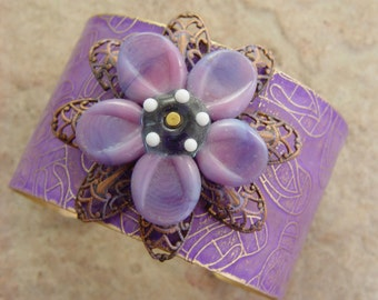 Embellished and Etched Brass Cuff Bracelet, Orchid FlipFlops and Plumeria, 1.5""