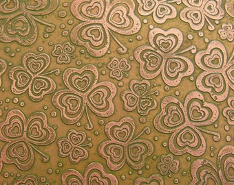Etched Copper Sheet, Fern Green Shamrock Clovers, 4x3 inches, 24g
