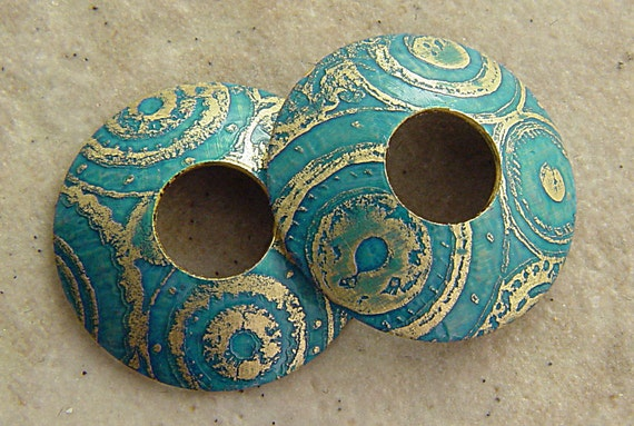 Etched Brass Bead Caps, Turquoise Blue Steampunk Circles, 1 pair (2 caps), 15mm