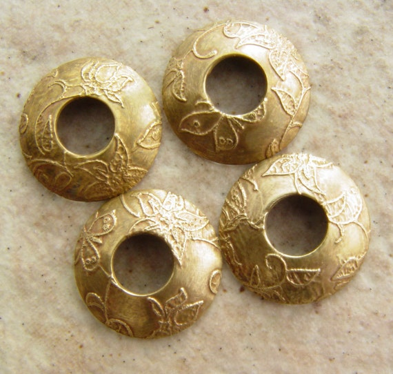 """BHB Caps, Etched Brass Butterfly Vine Bead Caps, 2 pair (4 caps), 15mm, 7/32"""" Hole"""