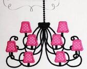 Paris Chandelier Embroidery Design Machine Applique