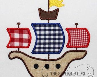 Pirate Ship Embroidery Design Machine Applique