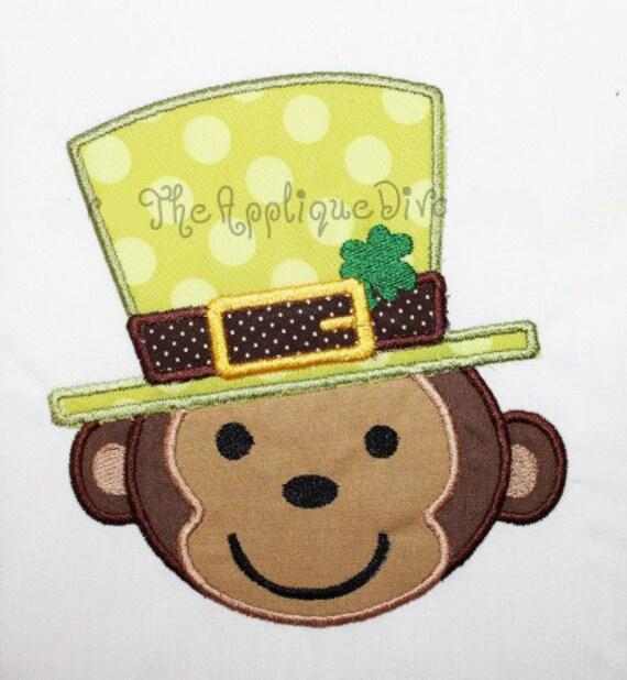 St Patrick's Day Leprechaun Monkey Embroidery Design Machine Applique